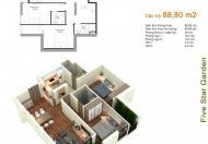 Bán căn số 14 tòa G2 chung cư Five Star, 88.8m2 (2PN, 2WC), giá bán 21,7tr/m2, liên hệ 0965538628