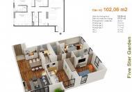 Giá bán cắt lỗ, căn vuông đẹp DT 102,6m2 chung cư Five Star, căn 11G5, 03PN, liên hệ: 0965 538 628