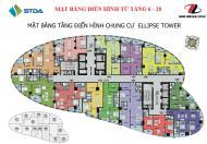 Bán cắt lỗ chung cư Ellipse Tower, 66m2, căn VP3 giá 17 triệu/m2, tầng 12