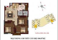 Bán căn số 08 tầng 9 chung cư B1 B2 Tây Nam Linh Đàm, 100.87 m2, 3 phòng ngủ đẹp, hướng Nam