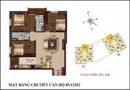 Bán căn số 02 tầng 14 chung cư B1 B2 Tây Nam Linh Đàm, 85,12m2, 3 phòng ngủ đẹp, hướng Nam