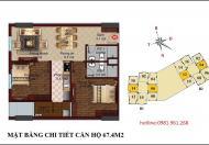 Bán căn số 06 tầng 20 chung cư B1 B2 Tây Nam Linh Đàm, 67,4m2, 2 phòng ngủ đẹp, hướng Nam