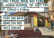 Cho thuê dài hạn nhà 1340 ĐL Hùng Vương, P. Tiên Cát, Việt Trì