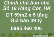 Chính chủ bán nhà mặt phố Hàng Cót, P.Hàng Mã, giá 39tỷ, 0985460406