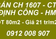 Bán CH 1607 - CT9 Định Công, Hoàng Mai, 80m2; 21tr/m2; 0912008907