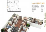 Chính chủ bán chung cư Five Star Kim Giang căn 10G5, DT 116.91m2, giá 23 tr/m2