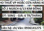 Cho thuê văn phòng hoặc KD tại số 2 ngách 6/13 Kim Đồng, 6tr/tháng, 0936141275
