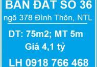Bán đất số 36 ngõ 378 Đình Thôn, Nam Từ Liêm, 4,1 tỷ, 0918766468