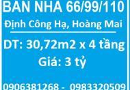 Bán nhà 66/99/110 Định Công Hạ, Hoàng Mai, 3 tỷ, 0983320509