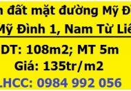 Bán đất mặt đường Mỹ Đình, Nam Từ Liêm, 135tr/m2; 0984992056