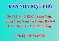 Bán nhà mặt phố, số 31 Lô 4-3 KĐT Trung Văn, phường Trung Văn, Nam Từ Liêm, Hà Nội