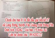 Chính chủ bán 01 lô đất đấu giá liền kề 67 xã Long Hưng, huyện Văn Giang, tỉnh Hưng Yên.