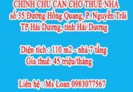 CHÍNH CHỦ CẦN CHO THUÊ NHÀ 35, Đường Hồng Quang, Phường Nguyễn Trãi, Hải Dương, Hải Dương