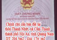 Chính chủ cần bán đất tại thôn Thanh Nhứt, xã Cẩm Thanh , thành phố Hội An , tỉnh Quảng Nam