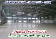 Cho thuê kho - xưởng Thuận An, Bình Dương dt từ 1.700m2 đến 8.800m2, LH 0938.949.373