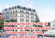 Bán Khách Sạn Phú Quốc 3* + 3 Mặt tiền kinh doanh đường 68m Bãi Trường, đối diện KS