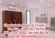 Cho thuê căn hộ tại số 34 ngõ 105 Yên Hòa, Cầu Giấy, Hà Nội