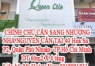 CHÍNH CHỦ CẦN SANG NHƯỢNG NHÀ NGUYÊN CĂN TẠI 40 Hoa Su, P2, Quan Phú Nhuận- TP Hồ Chí Minh