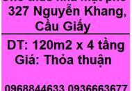 Cho thuê nhà mặt phố 327 Nguyễn Khang, Cầu Giấy, 0968844633