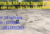 Bán xưởng tại Bắc Giang bao gồm cả dây chuyền sản xuất. Liên hệ : 0813831389