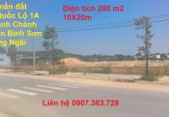 Hot! Bán đất xã Bình Chánh, Bình Sơn Quảng Ngãi mặt tiền quốc lộ 1A 10x20m