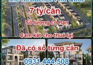 Bán dự án The Residence Phú Quốc cao cấp 4* tại trung tâm Bãi Trường, chỉ với 7 tỷ/căn cam kết cho