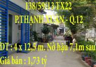 CHÍNH CHỦ BÁN NHÀ 138/59/13 TX22 PHƯỜNG THẠNH XUẬN, QUẬN 12, TP.HCM