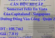 CHÍNH CHỦ CẦN BÁN GẤP TRƯỚC TẾT CĂN HỘ CAO CẤP SOMERSET FELIZ EN VISTA CỦA CAPITALAND – SINGAPORE Ở