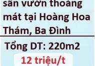 Cho thuê nhà có sân vườn thoáng mát tại Hoàng Hoa Thám, Ba Đình, 12tr; 0369667412
