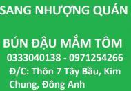 Nhượng quán Bún Đậu Vàng thôn 7 Tây Bầu, Kim Chung, Đông Anh, 0971254266