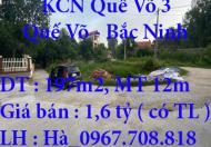 Bán lô đất 197m2, mặt tiền 12m, Quế Võ, Bắc Ninh chỉ 1,6 tỷ